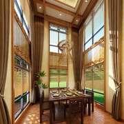 中式风格大户型室内餐厅窗帘设计装修效果图
