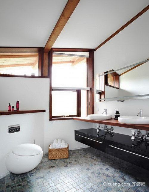 舒适自然风格大户型卫生间装修效果图