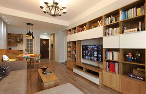 90平米现代风格客厅电视组合柜设计效果图