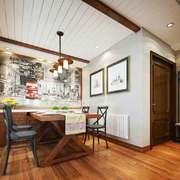 复古美式风格餐厅背景墙装修效果图赏析