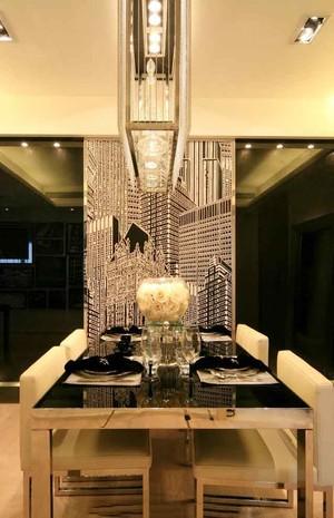 后现代风格两居室餐厅吊灯设计装修效果图