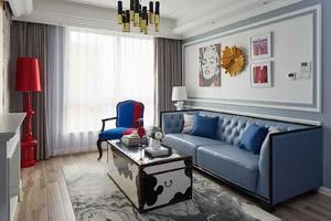 简欧风格蓝色主题两室一厅一卫装修效果图