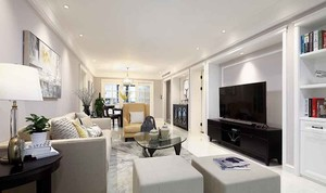 现代简约美式风格三室两厅室内装修效果图