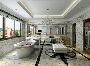 现代美式风格三室两厅一卫室内装修效果图