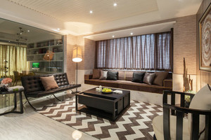 142平米现代风格三室两厅一卫室内装修效果图