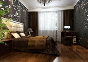 现代美式风格二居室卧室墙纸装修效果图