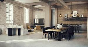 现代工业loft风格复式楼室内装修效果图鉴赏