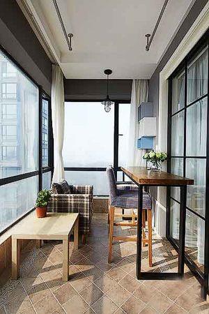 现代简约风格大户型室内封闭式阳台装修效果图