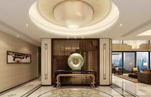 新中式风格大户型客厅玄关设计效果图赏析