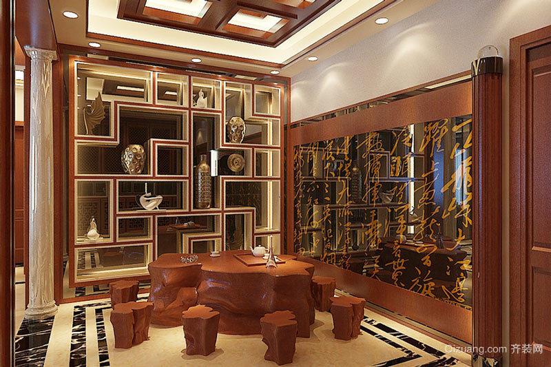 中式风格大户型室内博古架装修效果图