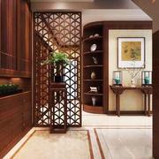 中式风格三居室室内玄关隔断设计装修效果图