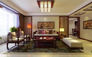 中式风格三居室客厅吊顶装修效果图