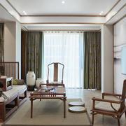 105平米中式风格客厅窗帘设计效果图鉴赏