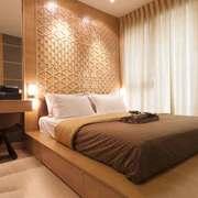 简约中式风格室内卧室背景墙装修效果图