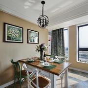 现代美式风格小户型餐厅背景墙装修效果图