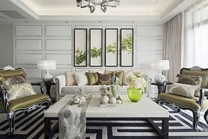 162平米清新简欧风格大户型室内装修效果图