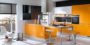 现代风格明亮橘色厨房装修效果图大全