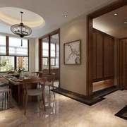 中式风格两居室圆形餐厅吊顶装修效果图