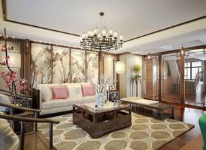 中式风格复式楼客厅装饰画装修效果图赏析