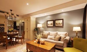 美式风格两室两厅一厨一卫室内装修效果图