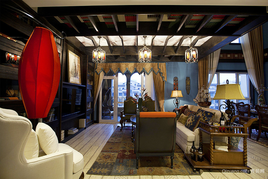 精致典雅古典美式风格大户型室内装修效果图