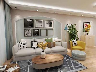 80平米简约风格两室两厅一厨一卫装修效果图