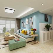 70平米田园小清新风格客厅吊顶装修效果图