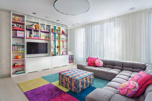 现代简约风格一居室客厅电视组合柜设计效果图