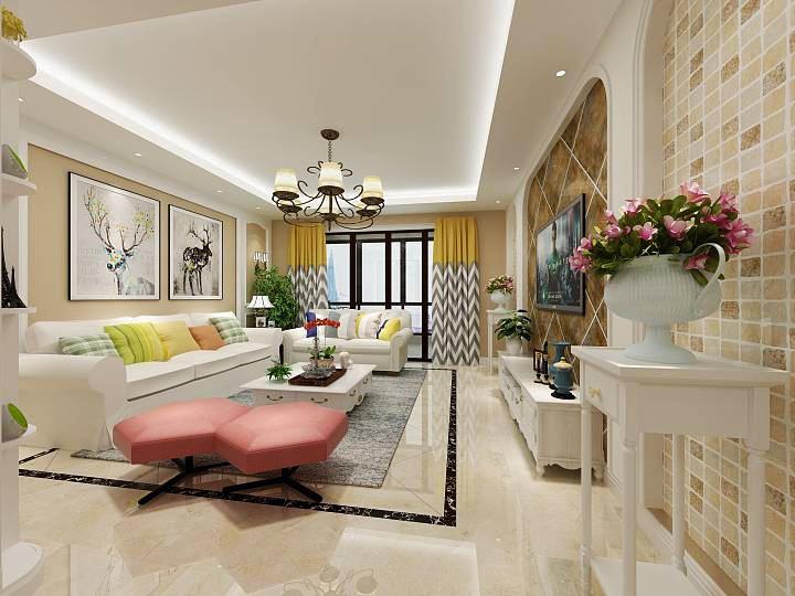 现代美式风格小户型客厅吊顶装修效果图