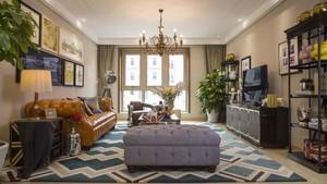 140平米美式混搭风格大户型室内装修效果图案例