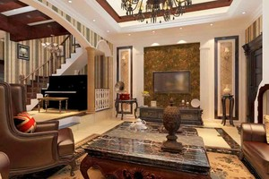 美式风格别墅室内客厅电视背景墙装修效果图