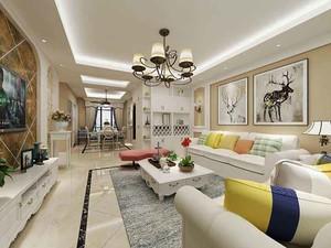 经典欧式田园风格三室两厅室内装修效果图案例