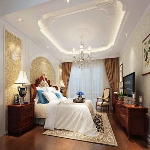 古典欧式风格别墅室内卧室吊顶装修效果图