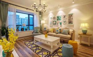 现代简约美式风格客厅飘窗设计装修效果图