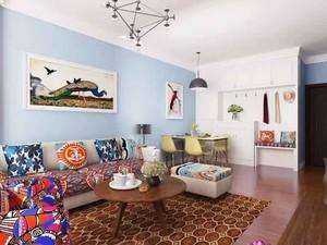 田园风格两居室开放式客厅装修效果图