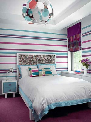 现代简约风格两居室卧室背景墙装修效果图