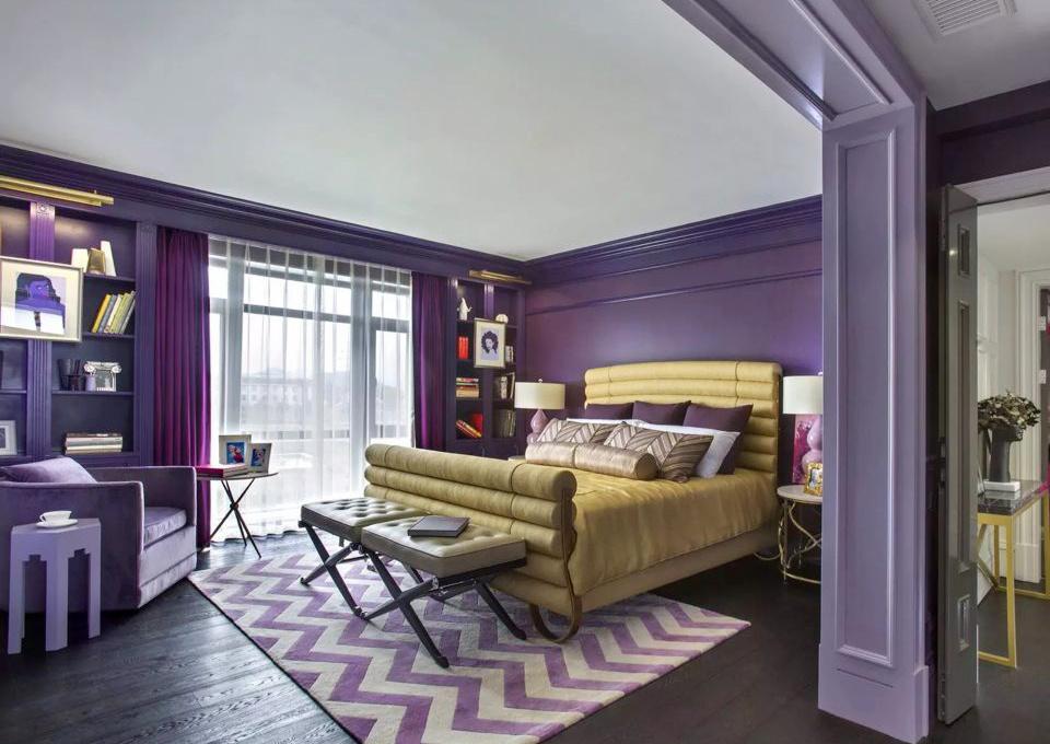 32平米现代简约风格紫色卧室窗帘效果图鉴赏