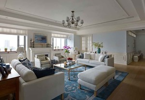 136平米现代简约美式风格大户型室内装修效果图