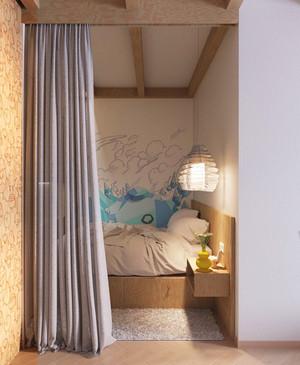 45平米清新简约风格小户型室内装修效果图