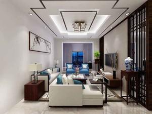 103平米新中式风格两室两厅一厨一卫装修效果图
