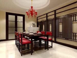 中式风格大户型室内餐厅背景墙装修效果图