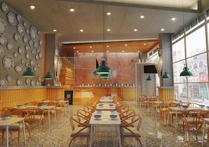60平米现代简约风格快餐店装修效果图