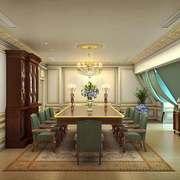 70平米经典典雅欧式风格会议室装修效果图