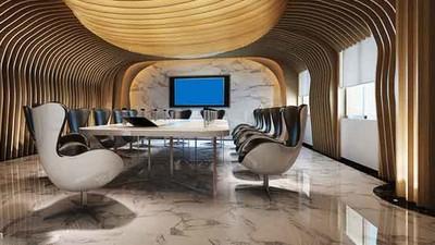 80平米后现代风格会议室背景墙装修效果图