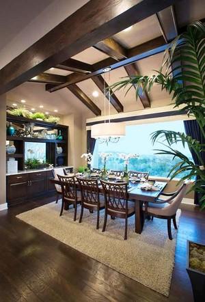 新中式风格别墅室内餐厅吊顶设计装修效果图