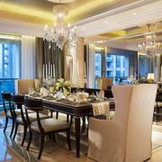 110平米欧式风格精致餐厅吊灯装修效果图赏析