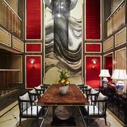 现代中式风格别墅餐厅背景墙装修效果图赏析