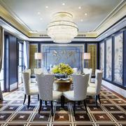 现代中式风格大户型餐厅背景墙装修效果图