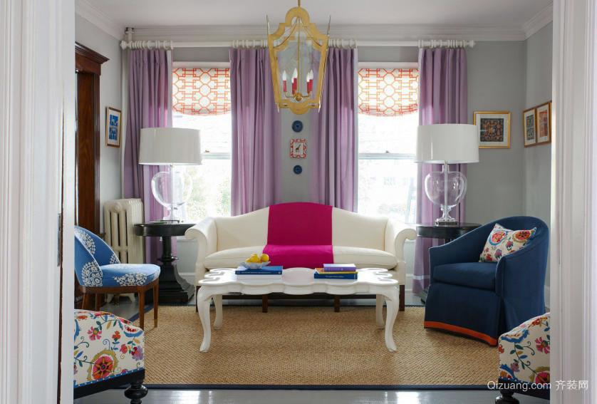 时尚混搭风格小户型客厅窗帘设计效果图鉴赏