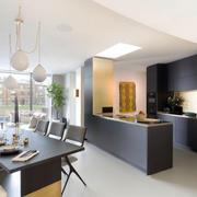 80平米现代简约风格开放式厨房装修效果图